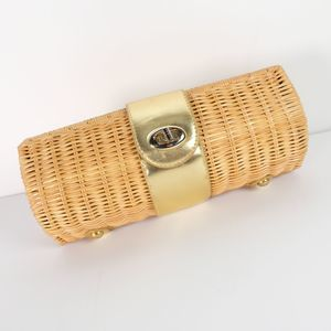 Charlotte Wicker Clutch Bag with Gold Accents
